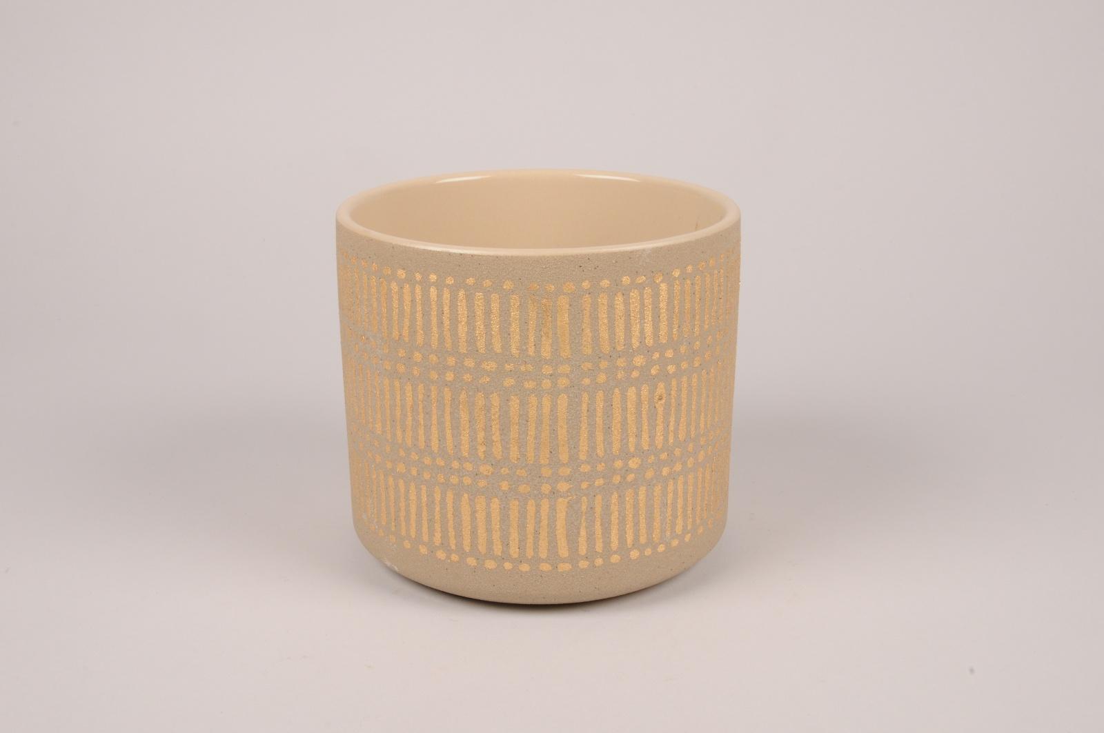A029I4 Cache-pot en céramique taupe D16cm H14.5cm