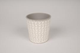 A029J6 Cache-pot en céramique blanc avec motifs D10.5cm H11cm