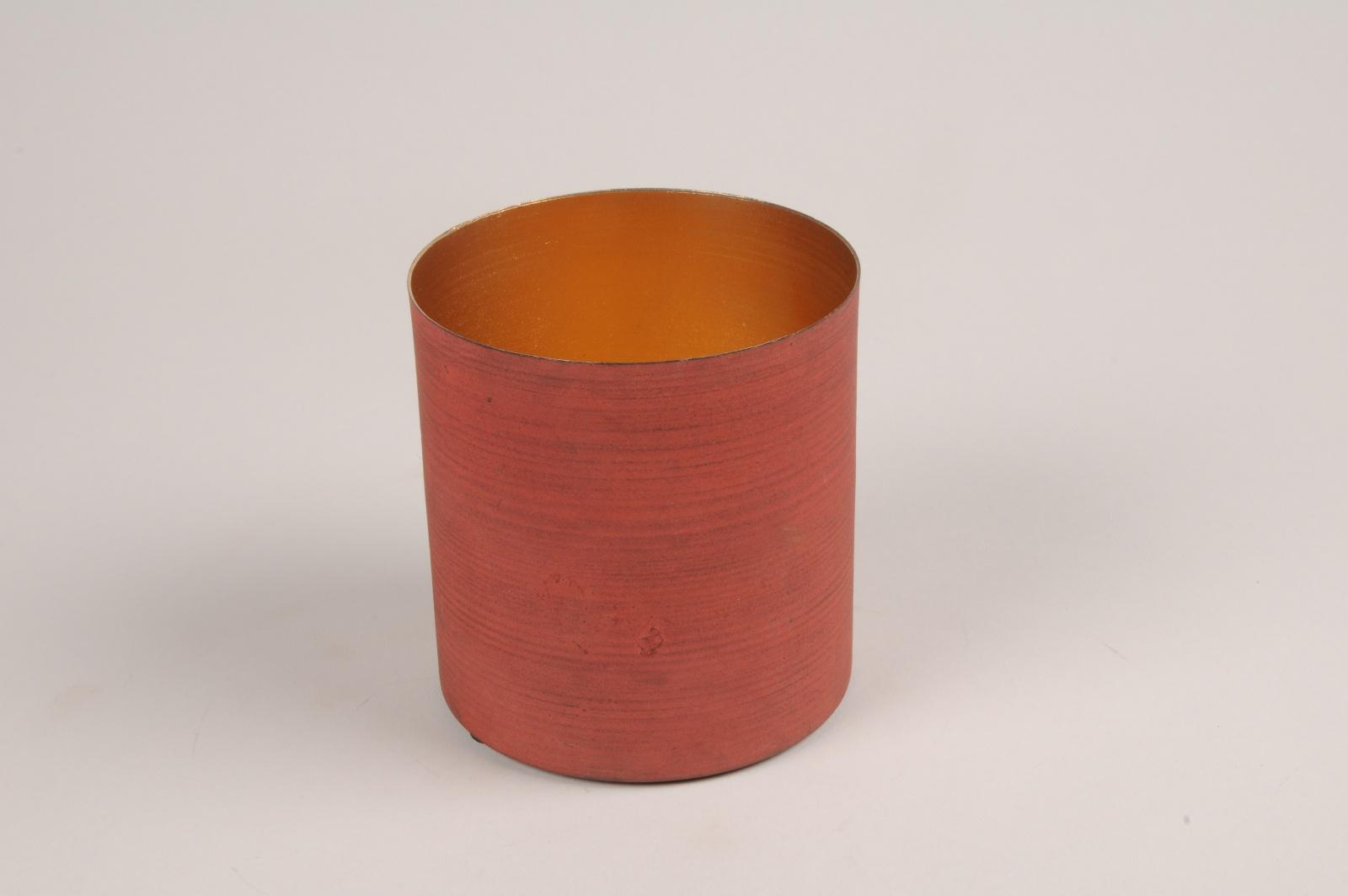 A029JY Cache-pot en métal rouge D10cm H10cm