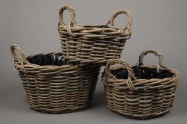 A029LE Set of 3 wicker baskets grey D34cm H19cm