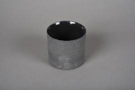 A029N8 Cache-pot en terre cuite gris D9cm H8.5cm