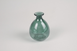 A029NH Green glass vase D9cm H12cm