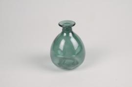 A029NH Vase en verre vert D9cm H12cm