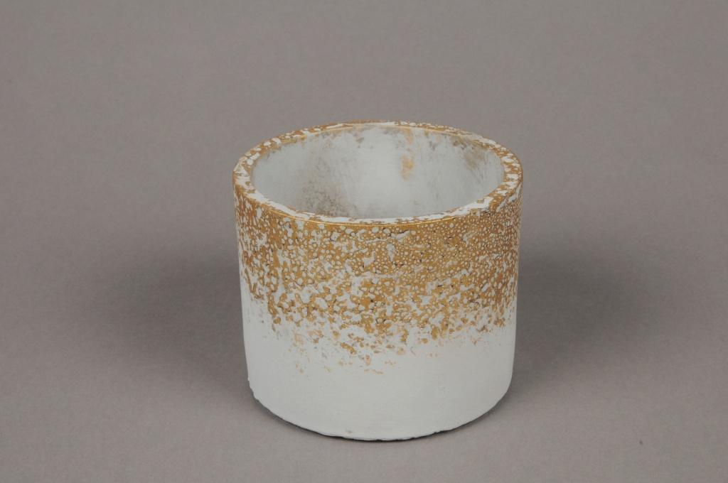 A029OZ  Grey ceramic planter D10.5cm H8.5cm