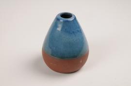 A029QS Vase soliflore en céramique bleu D10cm
