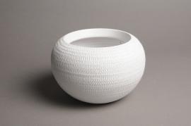 A029T3 Cache-pot céramique boule blanc D18cm H12.5cm