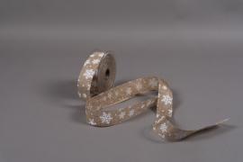 A029UN Natural jute ribbon with print 40mm x 20m