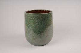 A029XD Cache-pot en céramique vert D20cm H24.5cm