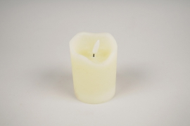 A030A1 Ivory wax candle LED D7.5cm H10cm