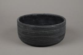 A030AC Black striated concrete planter D27cm H12cm