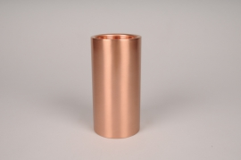 A030E0 Bougeoir cylindre métal cuivre D7.5cm H15cm