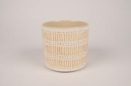 A030I4 Cache-pot en céramique crème D16cm H14.5cm