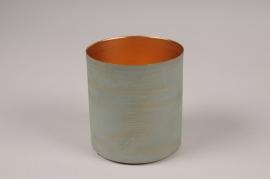 A030JY Cache-pot en métal vert D9.5cm H10.5cm
