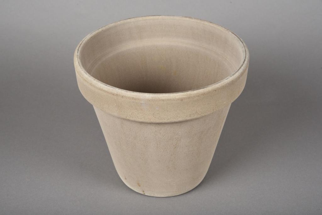 A030KF Pot horticole en terre cuite taupe D21.5cm H19cm