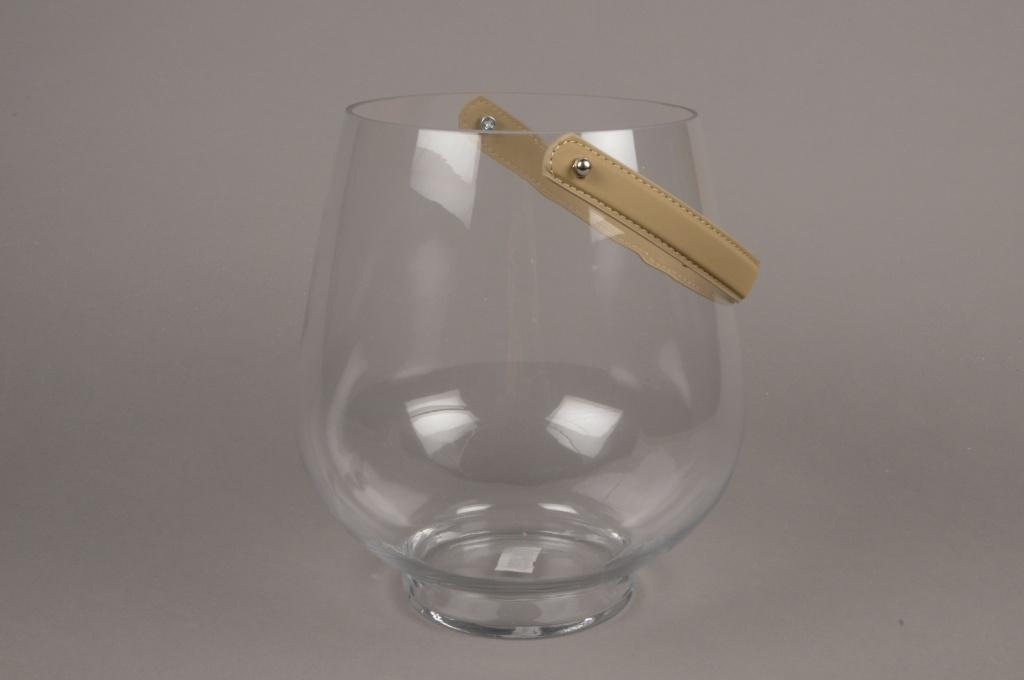 A030MA Photophore en verre et anse cuir H25cm