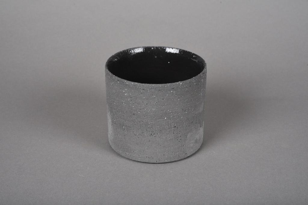 A030N8 Cache-pot en terre cuite gris D10.5cm H9cm