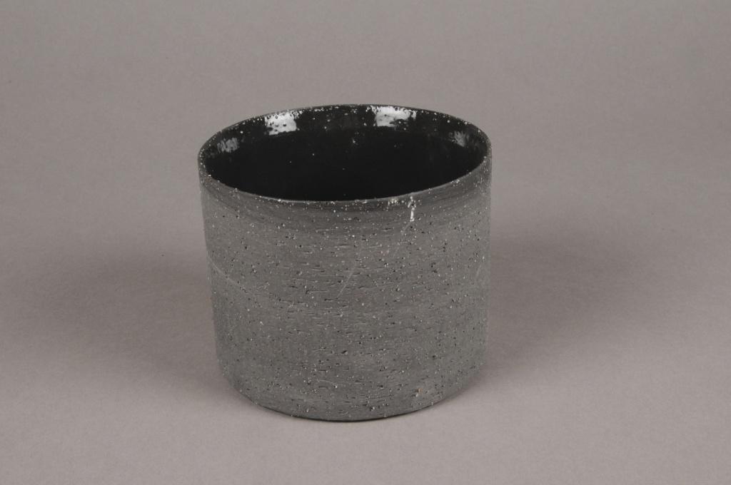 A030N8 Cache-pot en terre cuite noir D10.5cm H9cm