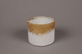 A030OZ Cache-pot en céramique blanc D10.5cm H8.5cm