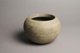 A030T3 Cache-pot céramique boule taupe D18cm H12.5cm