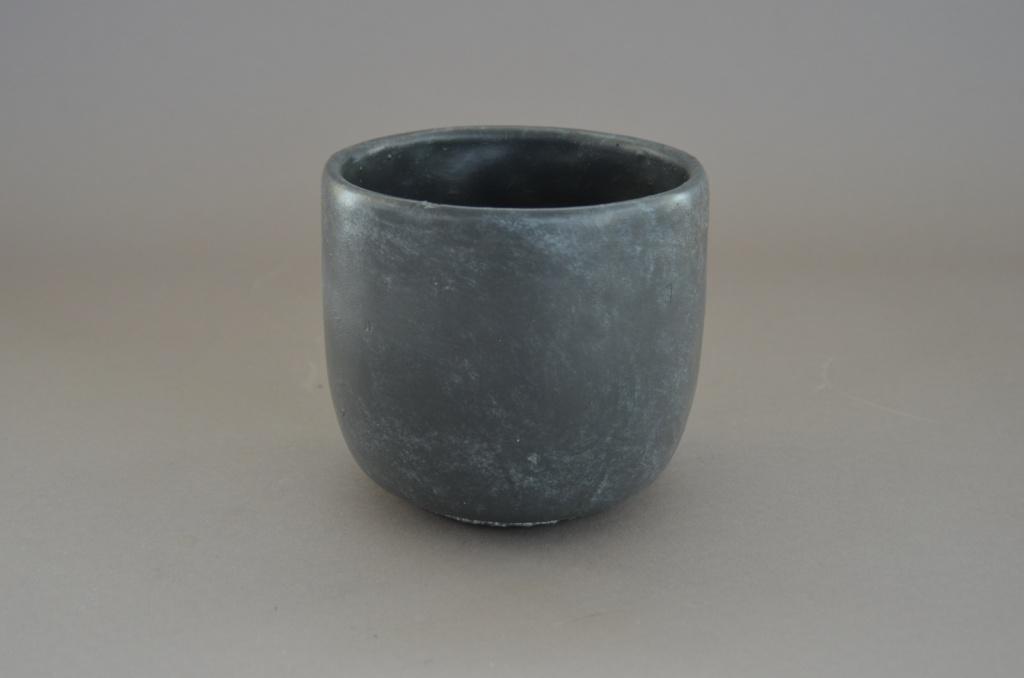 A030TN Cache-pot en terre cuite gris D15cm H13cm