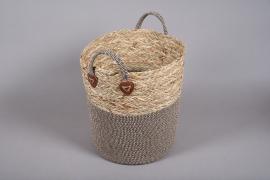 A030U7 Wicker and fabric baskets D30cm H33cm