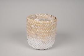A030UV White weaved bamboo planter D14cm H14cm