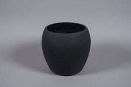 A030W7 Black resin planter D32cm H30cm