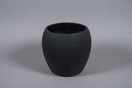 A030W7 Pot en fibre noir D32cm H30cm