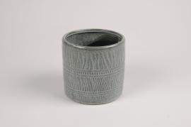 A031BJ Cache-pot en céramique vert D13cm H12.5cm