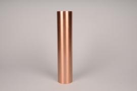 A031E0 Bougeoir cylindre métal cuivre D7.5cm H35cm