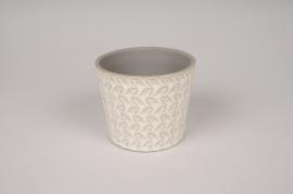 A031J6 Cache-pot en céramique blanc avec motifs D10.5cm H9cm