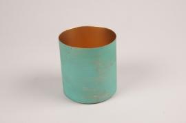 A031JY Cache-pot en métal vert bleu D9.5cm H10cm