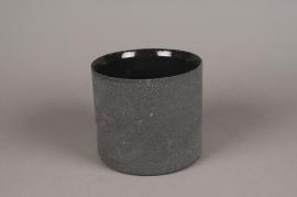A031N8 Cache-pot en terre cuite noir D12.5cm H10cm