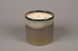 A031NM Grey glazed ceramic planter pot D13.5cm H13cm