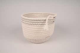 A031QL White cotton basket D19cm H14cm