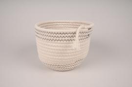 A031QL White cotton basket D19cm H14cm
