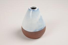A031QS Vase soliflore en céramique bleu blanc D6.5cm