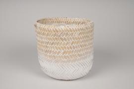 A031UV Cache-pot en bambou tressée blanc D18cm H18cm
