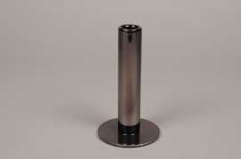 A031W0 Black metal candle holder D3cm H15.5cm