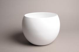 A032A8 Cache-pot céramique boule blanc D25cm H19cm