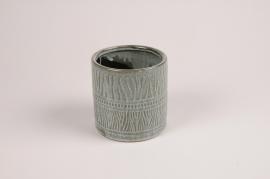A032BJ Cache-pot en céramique vert D11 cm H11 cm