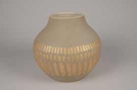 A032I4 Vase en céramique taupe D27cm H28cm