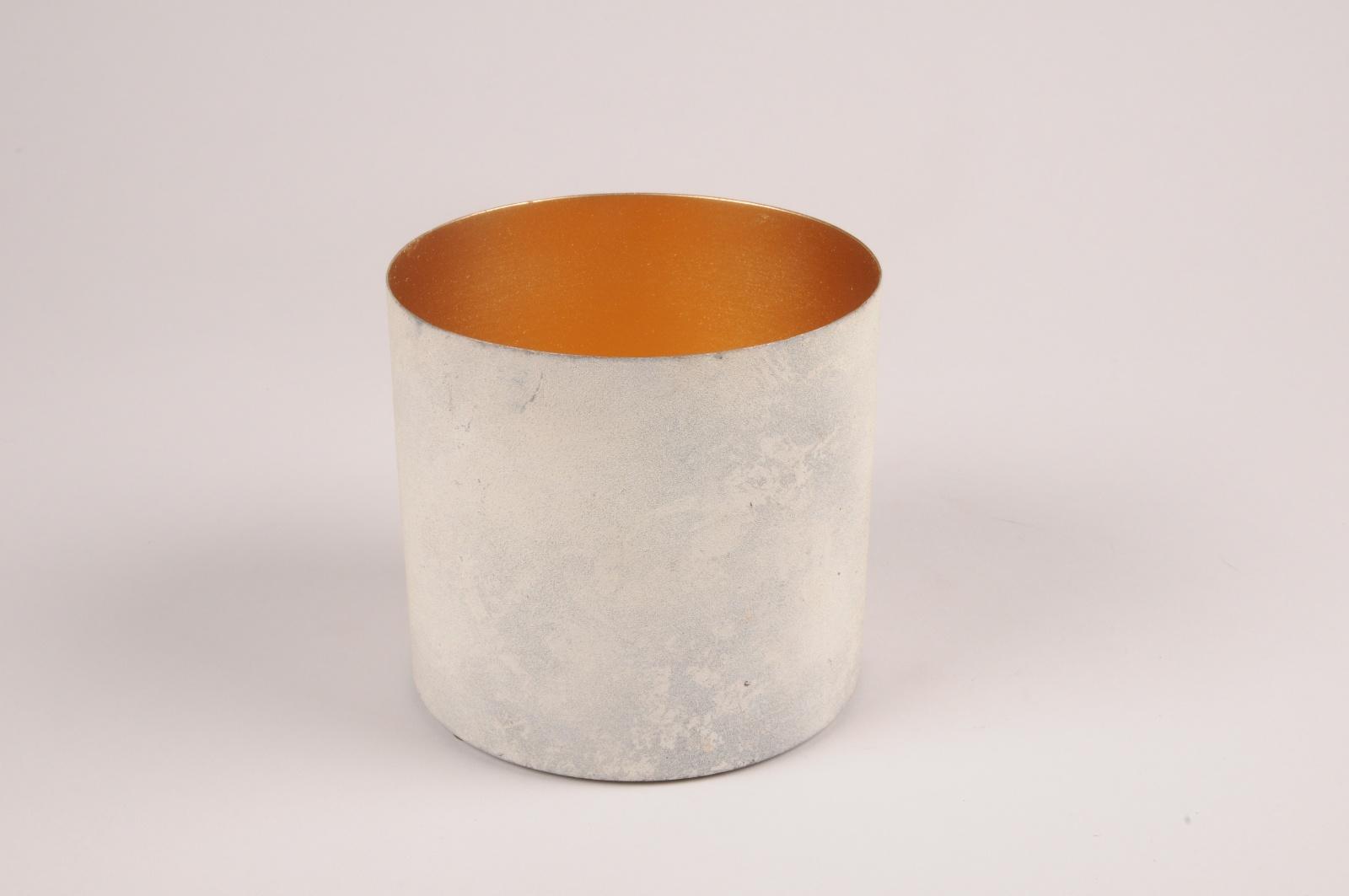 A032JY Cache-pot en métal blanc gris D12.5cm H11.5cm