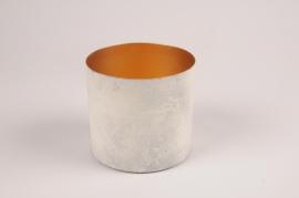 A032JY White grey metal planter D12.5cm H11.5cm
