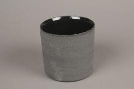 A032N8 Cache-pot en terre cuite gris D13cm H13cm