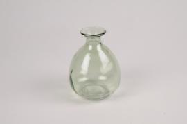 A032NH Vase en verre vert D9cm H12cm