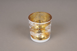 A032P5 Gold and white glass light holder D7.5cm H8cm