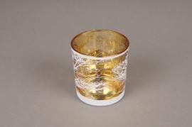 A032P5 Photophore en verre or et blanc D7.5cm H8cm