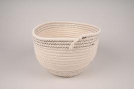 A032QL White cotton basket D28cm H19cm