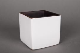 A032QS Cache-pot en céramique cube blanc 13x13cm H13cm
